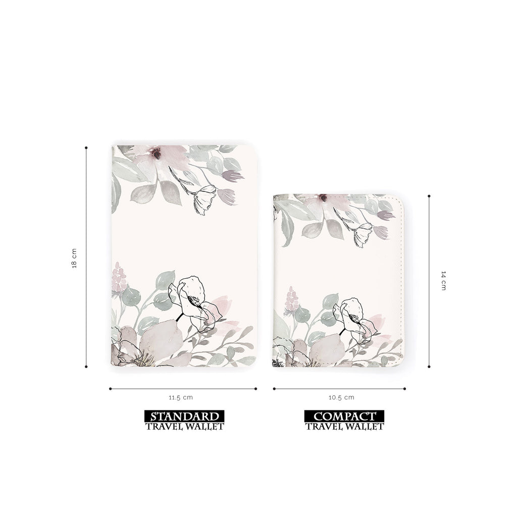 comparison of two sizes of personalized RFID blocking passport travel wallet with Blooming Spring design