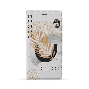 Front Side of Personalized iPhone Wallet Case with Marble Flower design