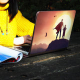 a girl using macbook air with personalized Macbook carry bag case with Father Day design on a wooden table