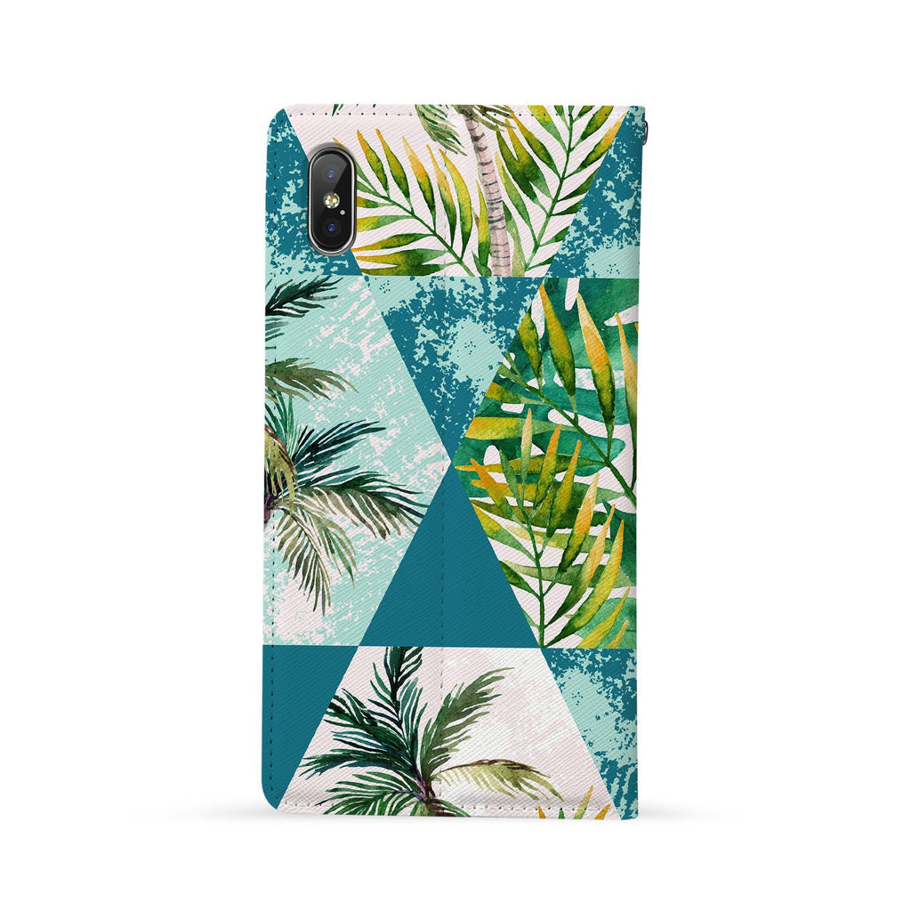 Back Side of Personalized Huawei Wallet Case with Geometric Flower design - swap