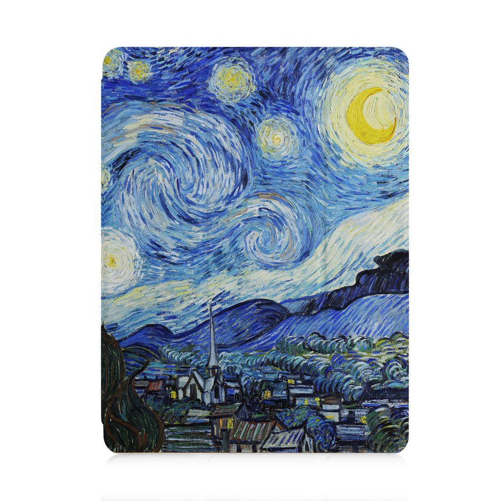 front view of personalized iPad case with pencil holder and Oil Painting design