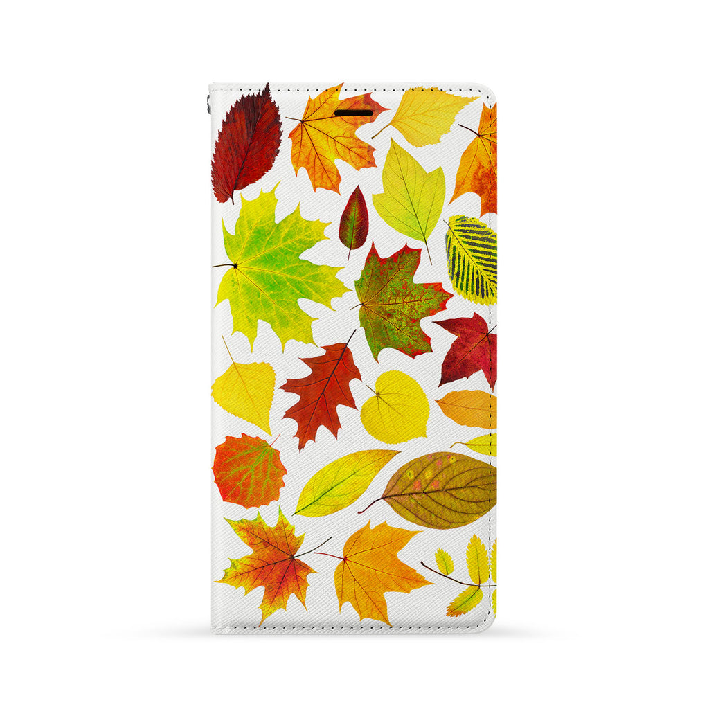 Front Side of Personalized iPhone Wallet Case with Flat Leaves design
