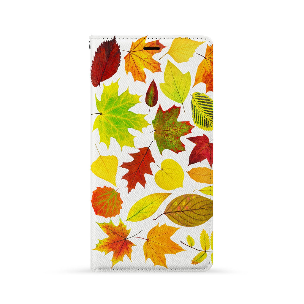 Front Side of Personalized Huawei Wallet Case with Flat Leaves design