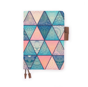the front view of papermarker's diary with Aztec Tribal pattern