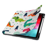 front view of personalized iPad case with pencil holder and Dinosaur design