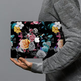 hardshell case with Black Flower design combines a sleek hardshell design with vibrant colors for stylish protection against scratches, dents, and bumps for your Macbook