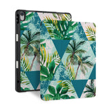 front back and stand view of personalized iPad case with pencil holder and Tropical Leaves design - swap