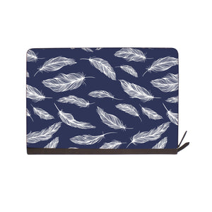 front view of personalized Macbook carry bag case with Feather design