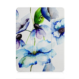 front view of personalized iPad case with pencil holder and Flower BG design
