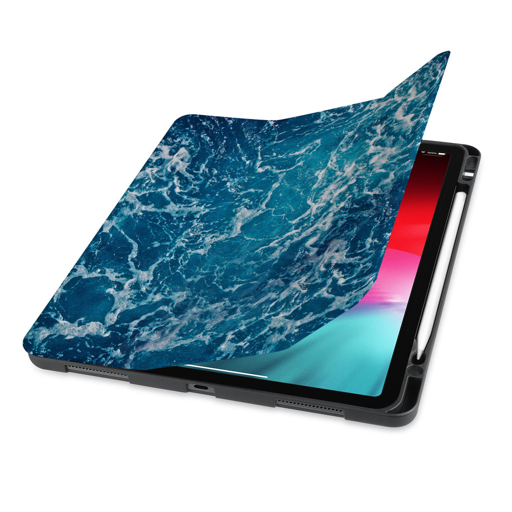 front view of personalized iPad case with pencil holder and Ocean design