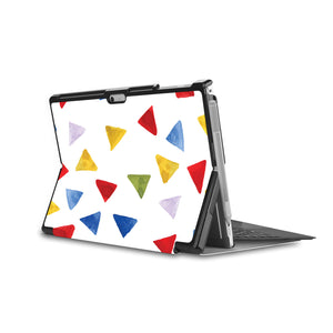 the back side of Personalized Microsoft Surface Pro and Go Case in Movie Stand View with Geometry Pattern design - swap