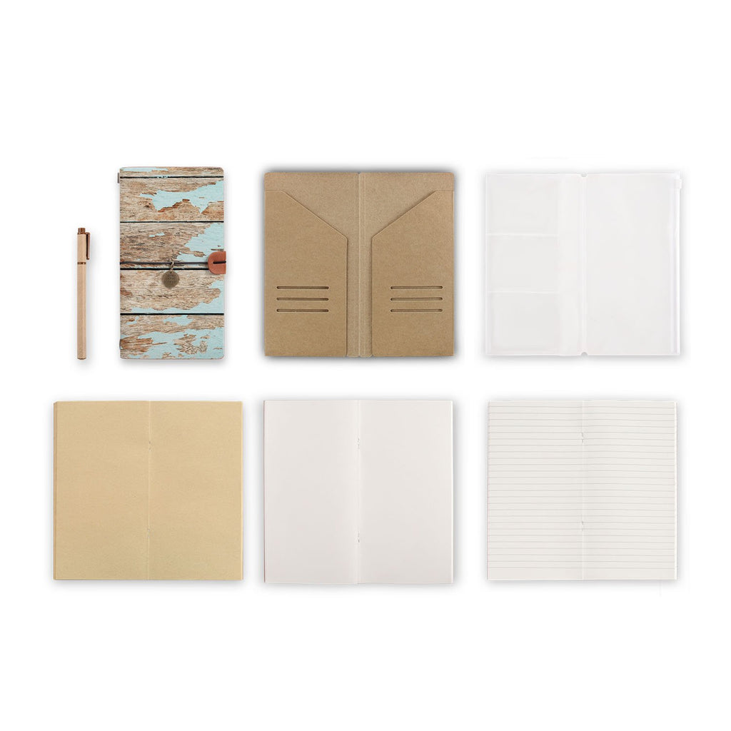 midori style traveler's notebook with Wood design, refills and accessories