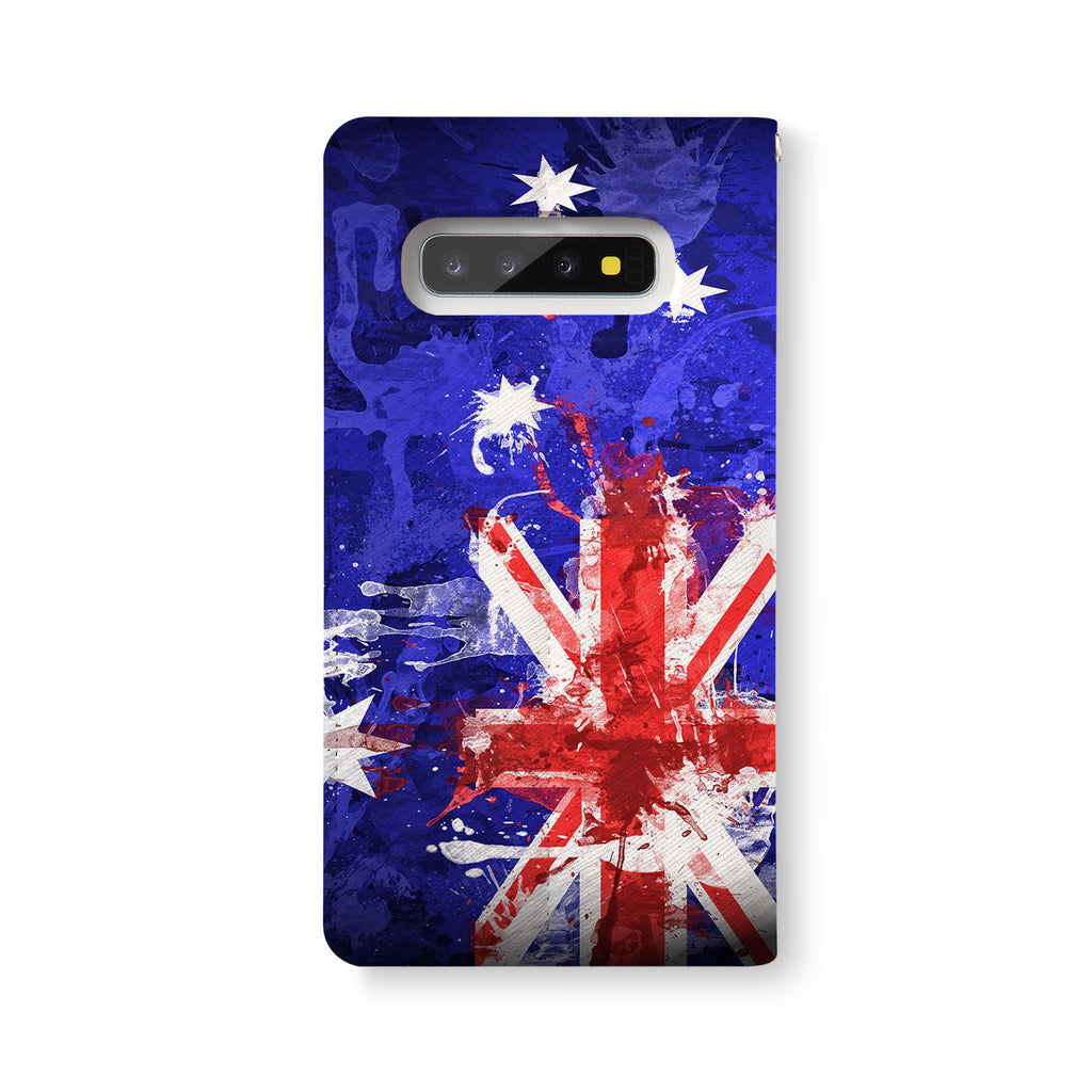 Back Side of Personalized Samsung Galaxy Wallet Case with NationalFlag design - swap