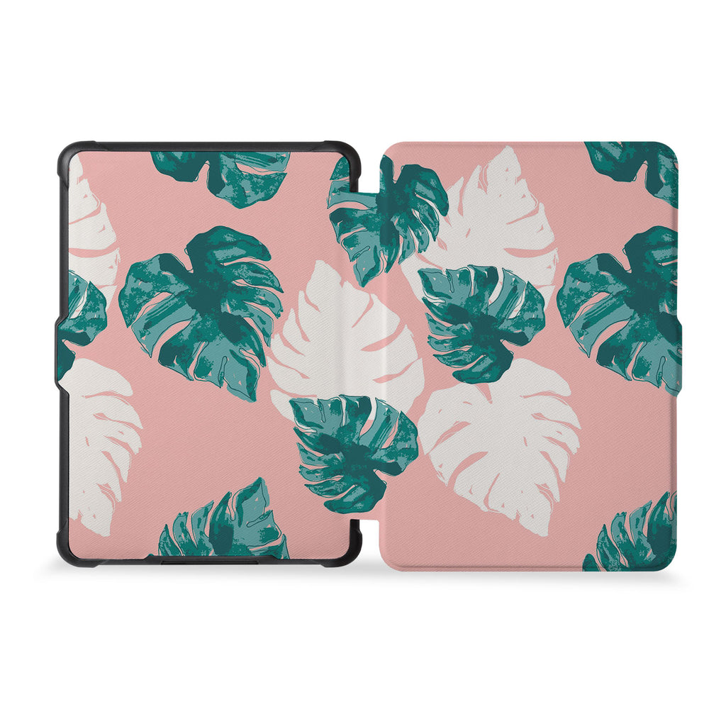 the whole front and back view of personalized kindle case paperwhite case with Pink Flower 2 design