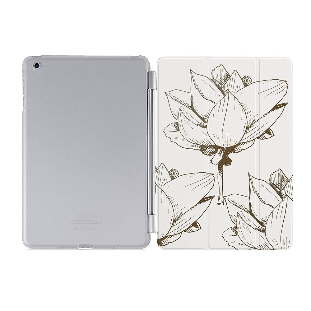 free hard back case cover with personalized iPad case smart cover with Bloom Flourish design