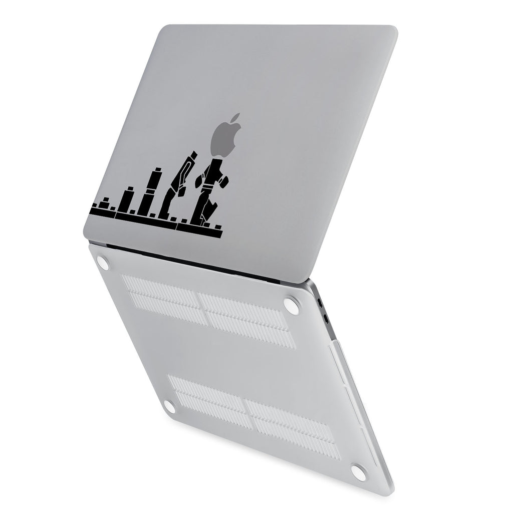 hardshell case with Brick Man design has rubberized feet that keeps your MacBook from sliding on smooth surfaces