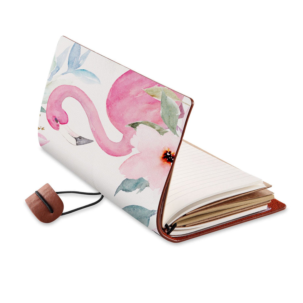 opened view of midori style traveler's notebook with Flamingo design