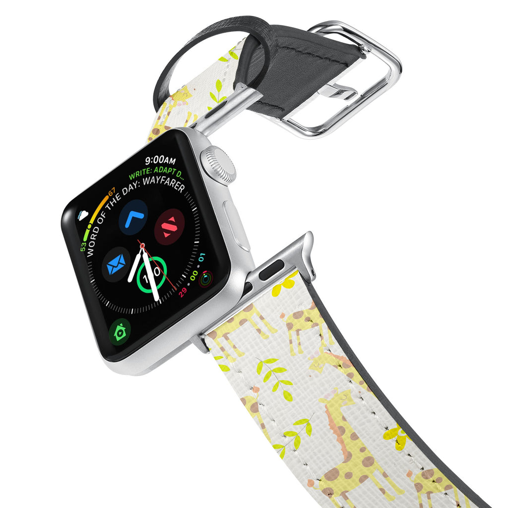 Printed Leather Apple Watch Band with Animals design. Designed for Apple Watch Series 4,Works with all previous versions of Apple Watch.