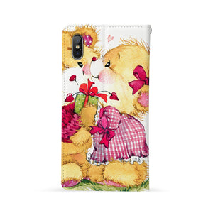 Back Side of Personalized Huawei Wallet Case with Cute Bear design - swap