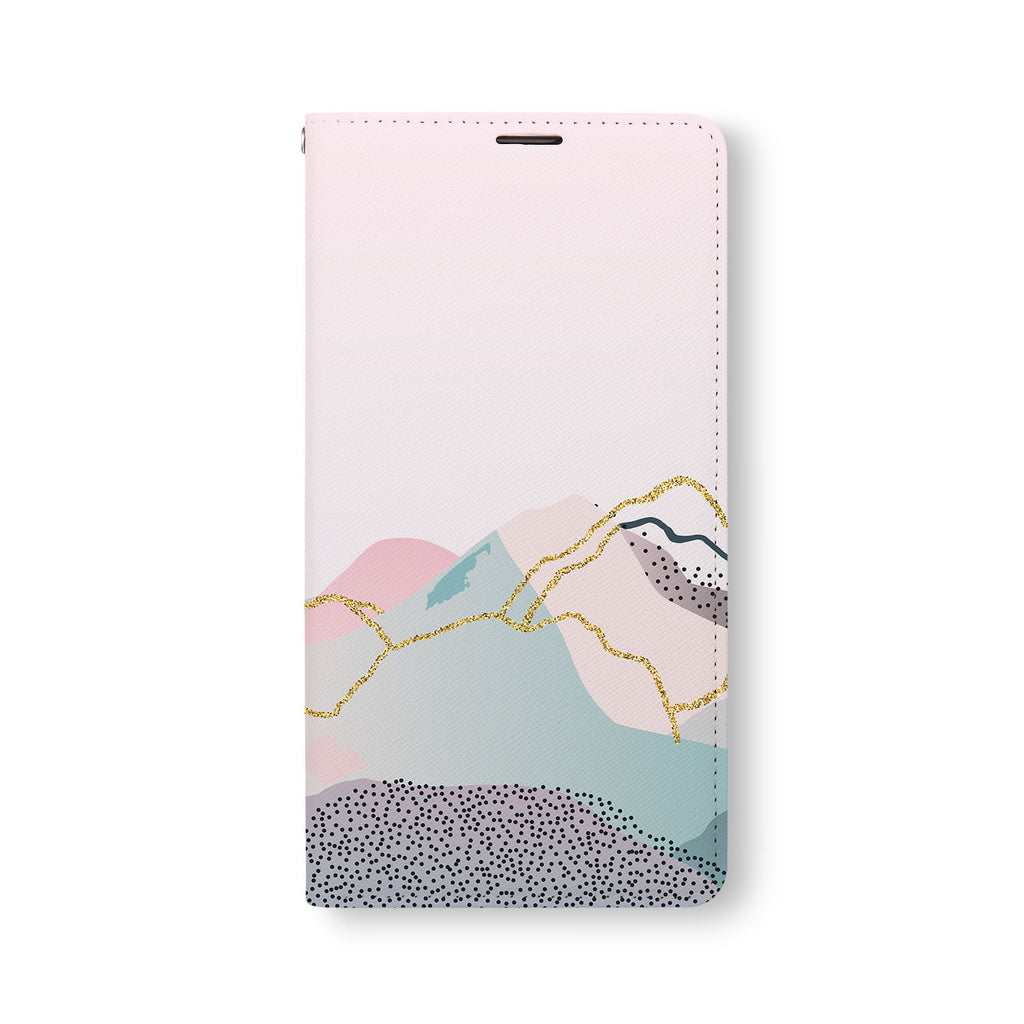 Front Side of Personalized Samsung Galaxy Wallet Case with Marble Art design