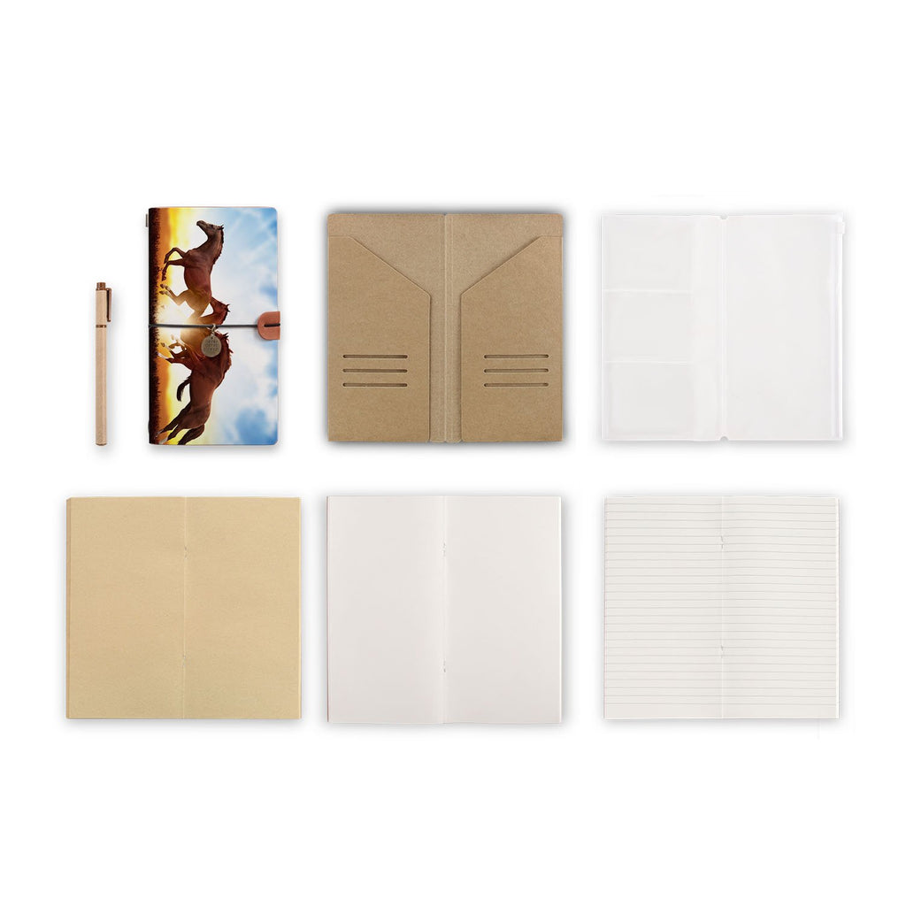 midori style traveler's notebook with Horse design, refills and accessories