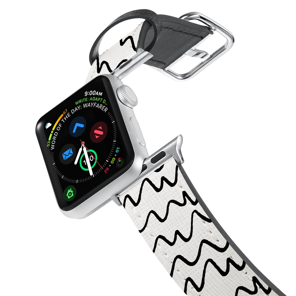 Printed Leather Apple Watch Band with Simple Pattern design. Designed for Apple Watch Series 4,Works with all previous versions of Apple Watch.