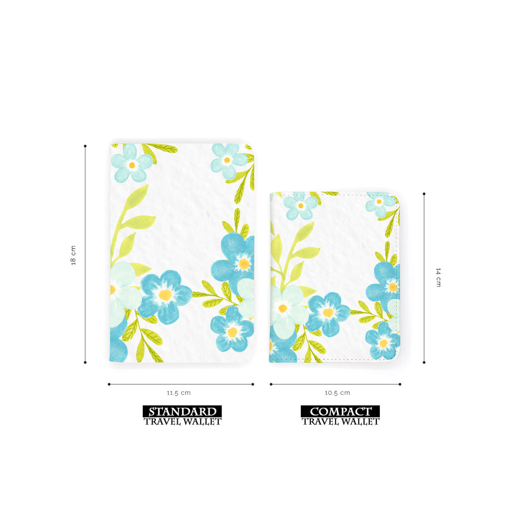 comparison of two sizes of personalized RFID blocking passport travel wallet with Charm Floral design
