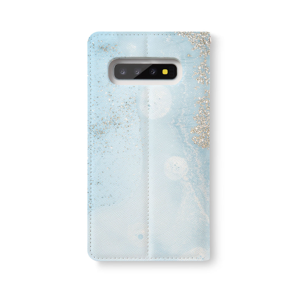 Back Side of Personalized Samsung Galaxy Wallet Case with Marble Gold design - swap