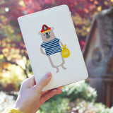 a girl holding personalized RFID blocking passport travel wallet with Captain design