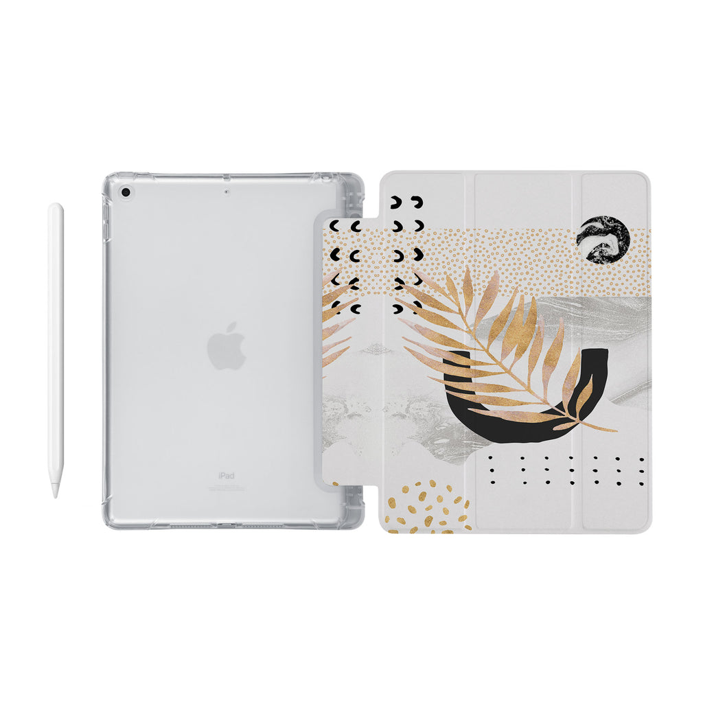 iPad SeeThru Casd with Marble Flower Design Fully compatible with the Apple Pencil