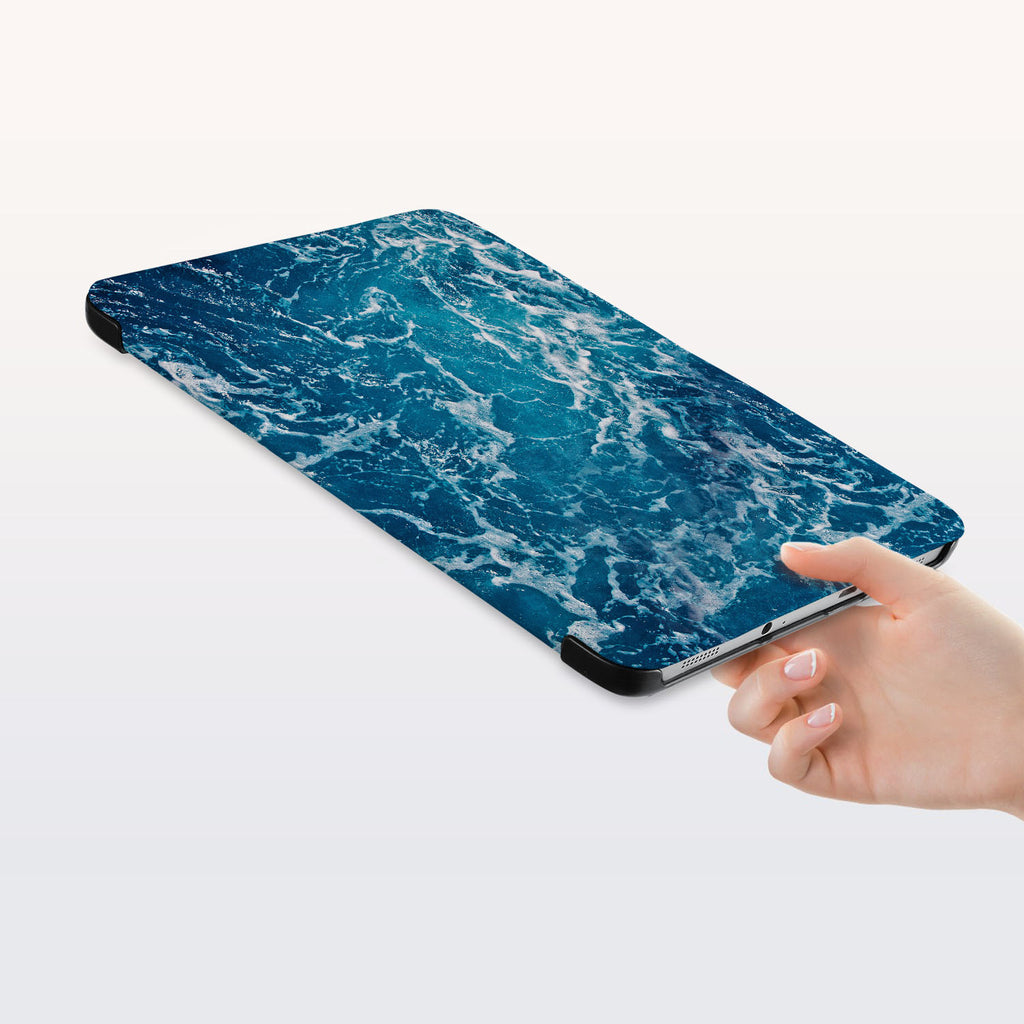 a hand is holding the Personalized Samsung Galaxy Tab Case with Ocean design