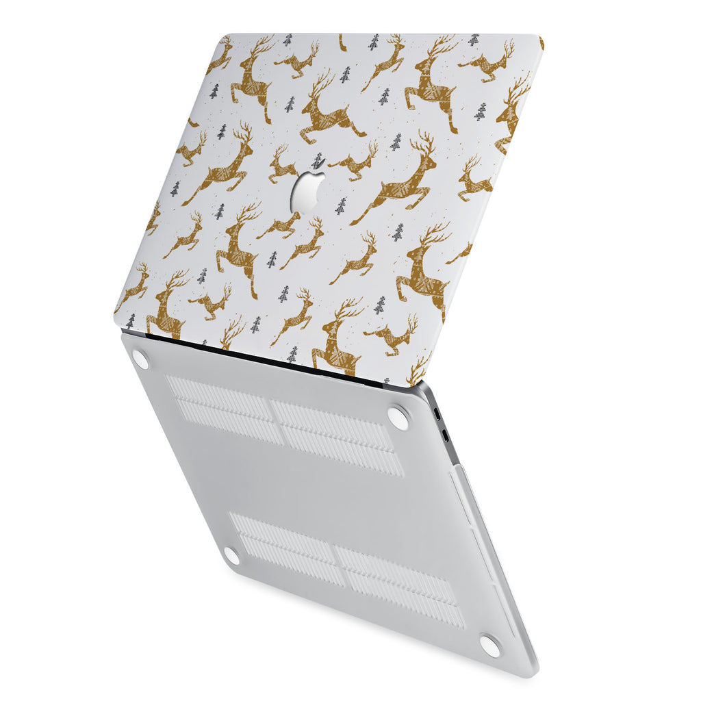 hardshell case with Christmas design has rubberized feet that keeps your MacBook from sliding on smooth surfaces