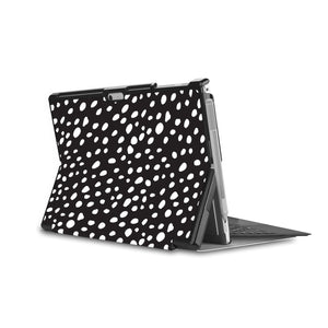 the back side of Personalized Microsoft Surface Pro and Go Case in Movie Stand View with Polka Dot design - swap