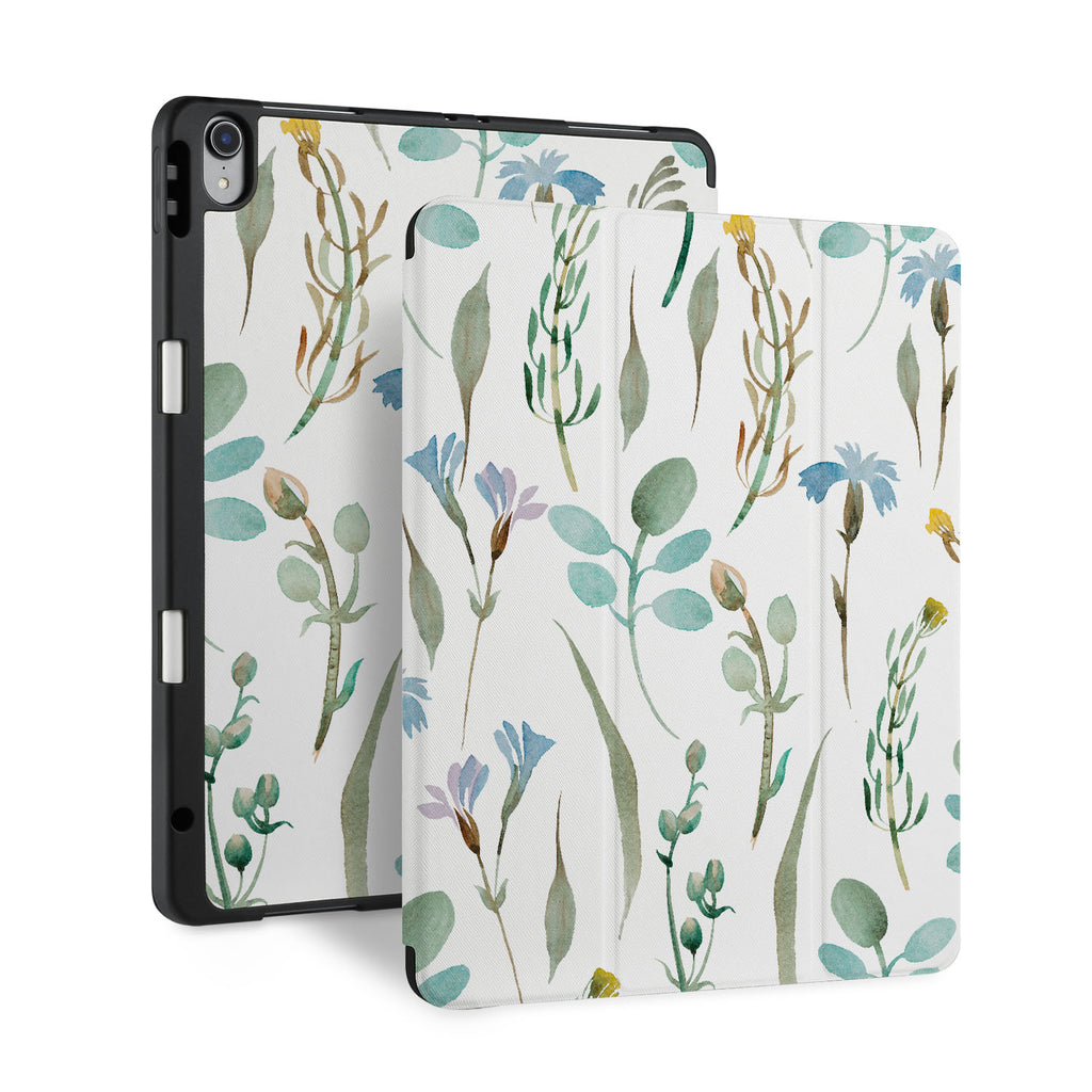 front and back view of personalized iPad case with pencil holder and Plants design