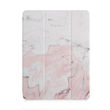 front and back view of personalized iPad case with pencil holder and Pink Marble design