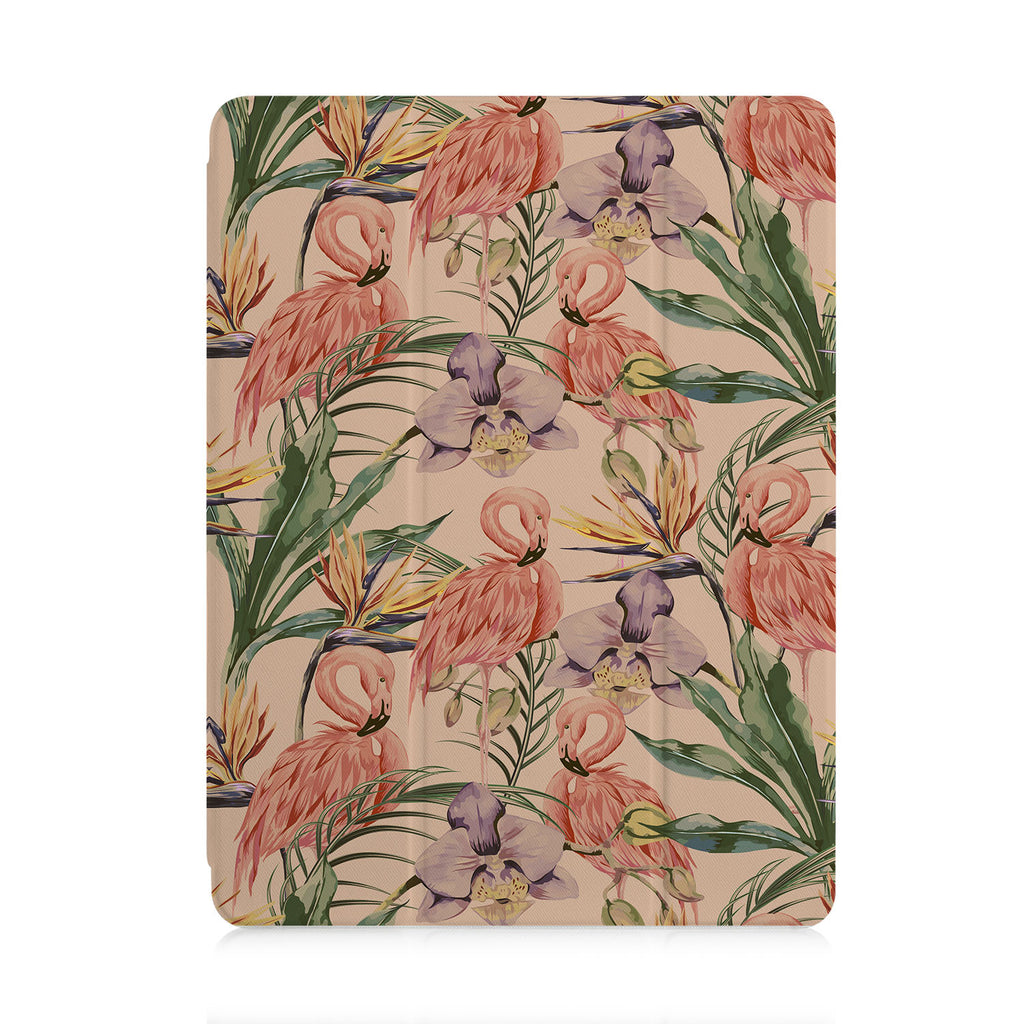 front view of personalized iPad case with pencil holder and Plants design