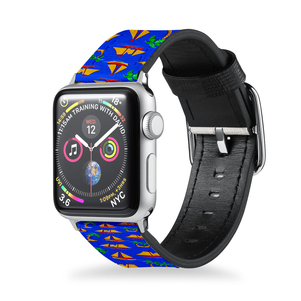 Handmade Printed Leather Apple Watch Band with Hawaiian design from buttery-smooth leather - swap