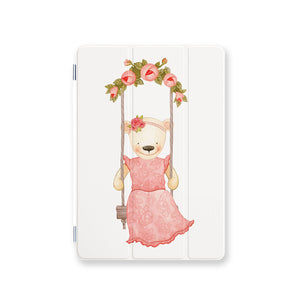 front view personalized iPad case smart cover with Charming Bear design