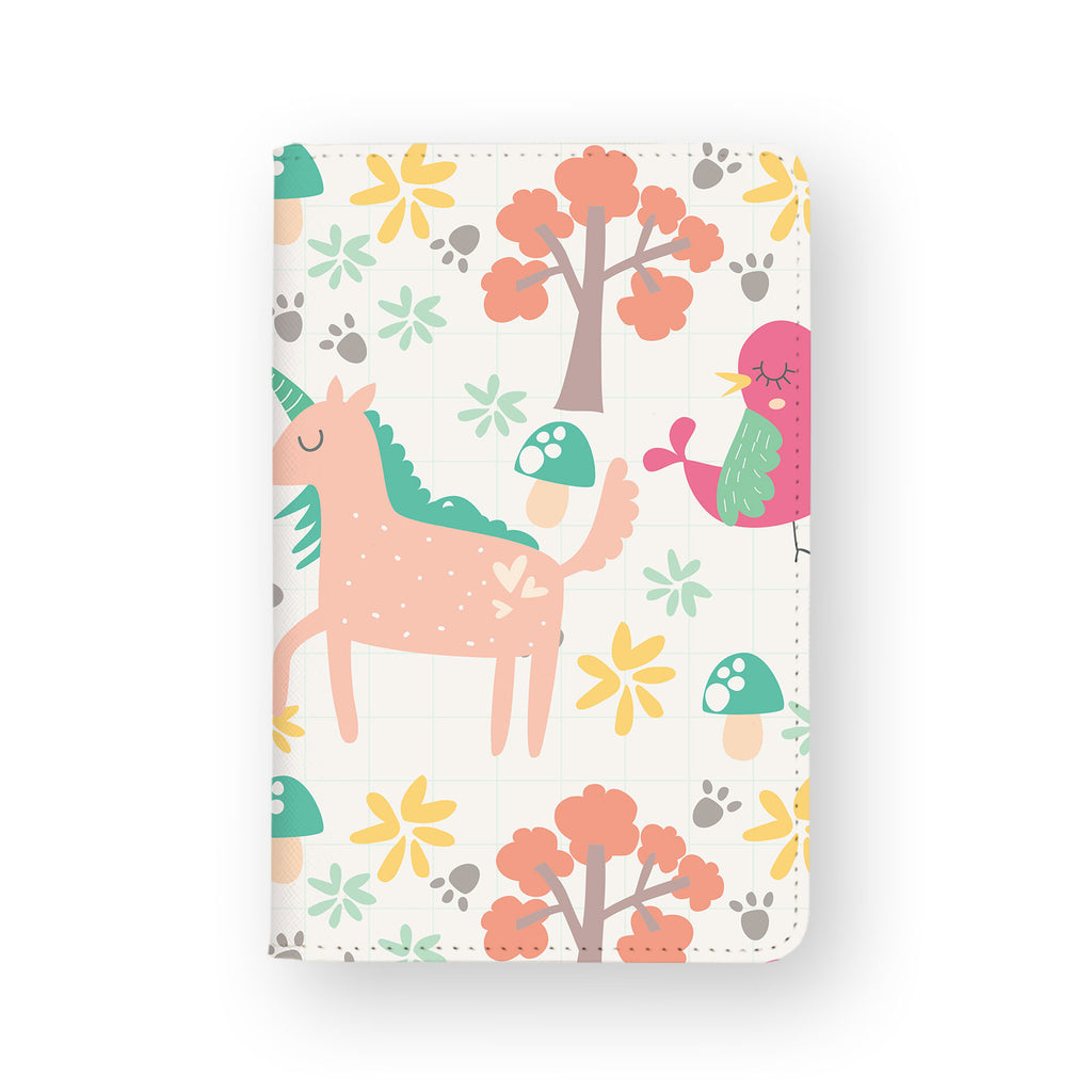 front view of personalized RFID blocking passport travel wallet with Animals 3 design