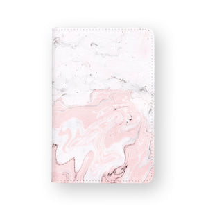 front view of personalized RFID blocking passport travel wallet with Pink Marble design
