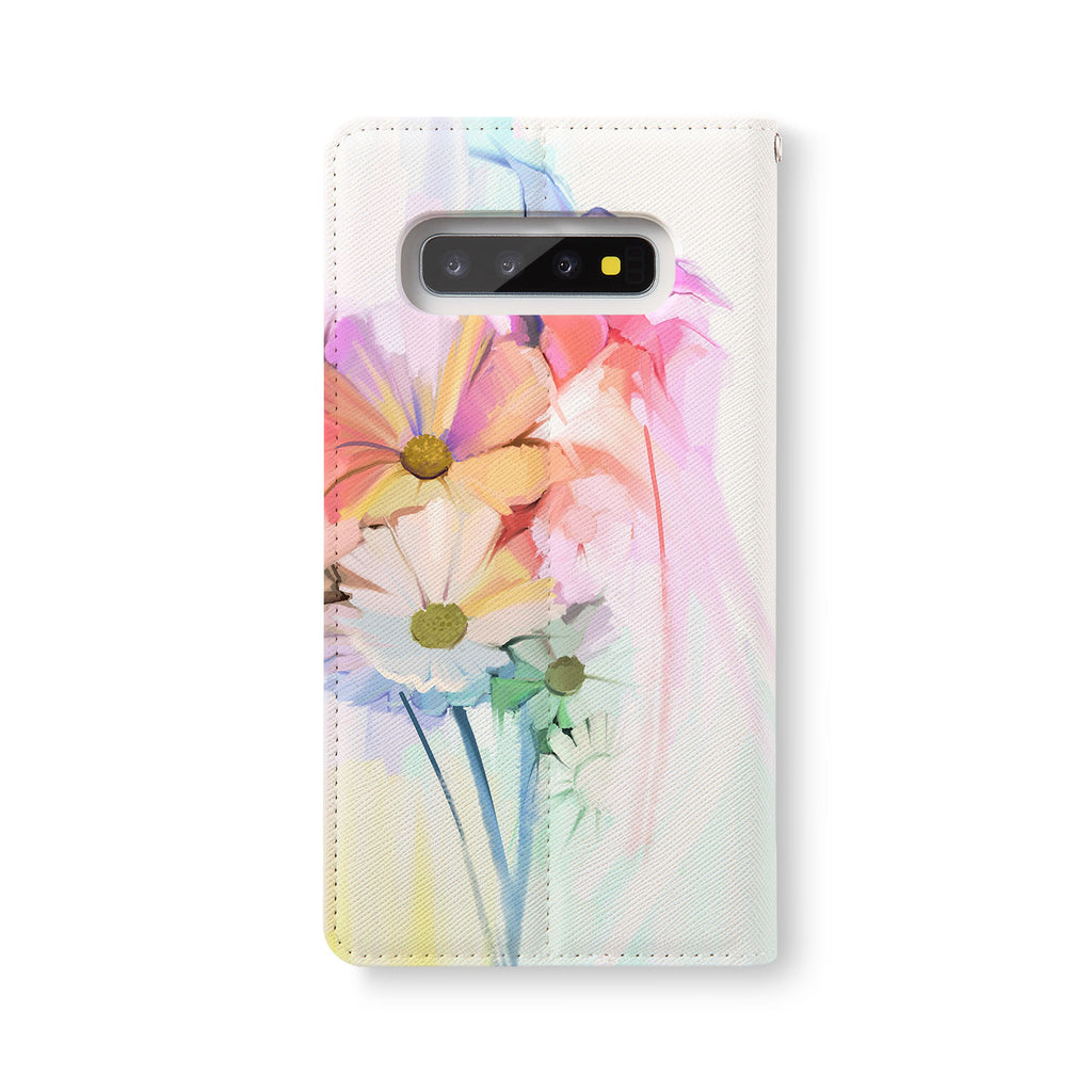 Back Side of Personalized Samsung Galaxy Wallet Case with WatercolorFlower2 design - swap