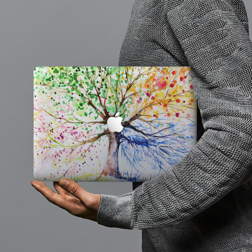 hardshell case with Watercolor Flower design combines a sleek hardshell design with vibrant colors for stylish protection against scratches, dents, and bumps for your Macbook