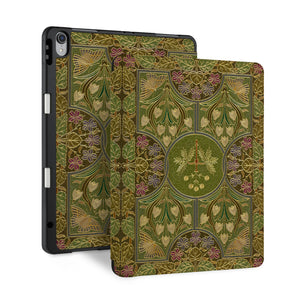 front and back view of personalized iPad case with pencil holder and Vintage Book design