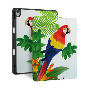 front and back view of personalized iPad case with pencil holder and Bird design