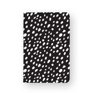 front view of personalized RFID blocking passport travel wallet with Polka Dot design