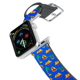 Printed Leather Apple Watch Band with Hawaiian design. Designed for Apple Watch Series 4,Works with all previous versions of Apple Watch.