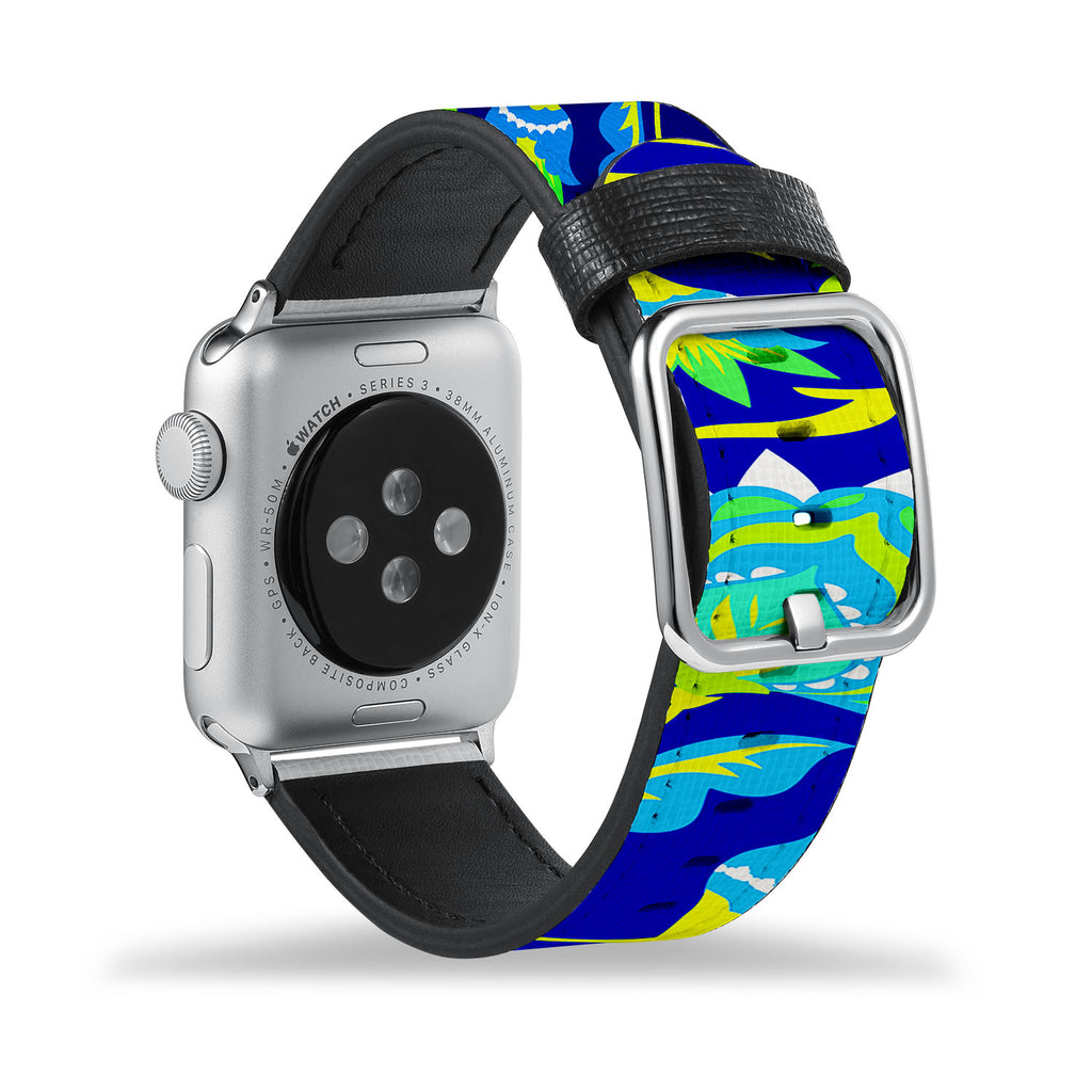 Printed Leather Apple Watch Band with Botanic design Like all Apple Watch bands, you can match this band with any Apple Watch case of the same size