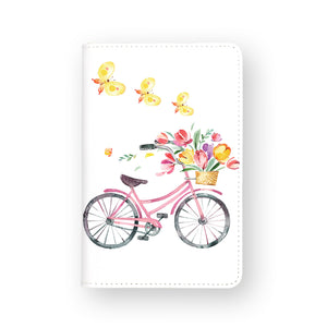 front view of personalized RFID blocking passport travel wallet with Springtime design