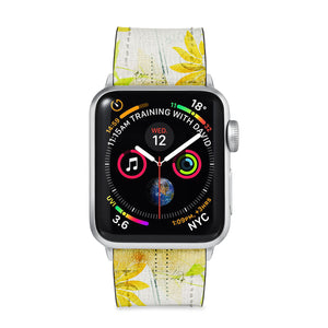 Our Printed Leather Apple Watch Band with Music Script design are made of water- and scratch-resistant saffiano leather because we know you wear your apple watch every, single, day. - swap