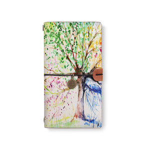 the front top view of midori style traveler's notebook with Watercolor Flower design